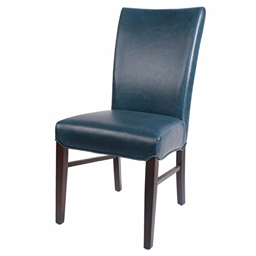 Pacific Chair Heights Leather (New Pacific Direct Milton Bonded Leather Chair,Brown Legs,Vintage Blue,Set of 2)