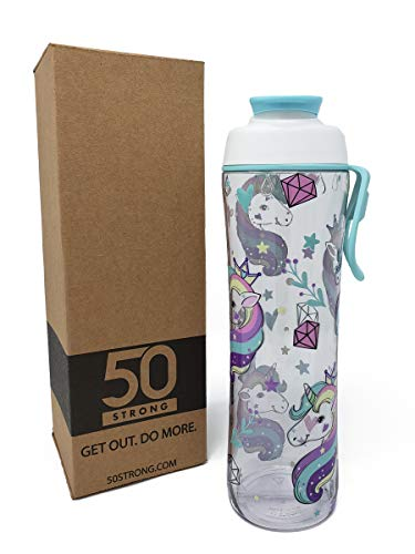 BPA Free Cute Reusable Unicorn Water Bottle with Premium 360 Degree Print - Available in 2 Sizes and 20+ Styles - Made in USA (Unicorn, 24 oz.)