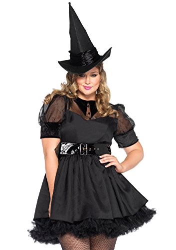 Leg Avenue Women's Plus-Size Bewitching Witch Costume, Black, -