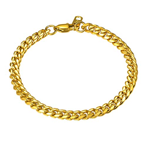 PROSTEEL Gold Chain Bracelet Hip Hop Chain Cuban Link 18K Plated Miami Hiphop Rocker Women Men Jewelry Gift