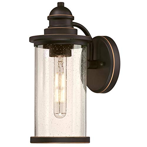 - Westinghouse Lighting 6373900 Vicksburg One-Light Outdoor Wall Lantern, Oil Rubbed Bronze Finish with Highlights and Clear Seeded Glass Porch Light
