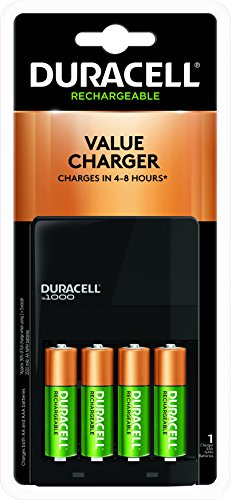 Duracell - Ion Speed 1000 Battery Charger with 4 AA Batteries - charger for AA and AAA batteries ()