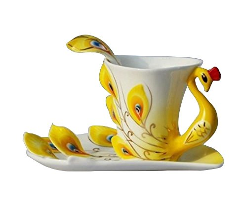 Hand Crafted Porcelain Enamel Peacock Coffee/Tea Cup Set with Saucer and Spoon (Yellow)