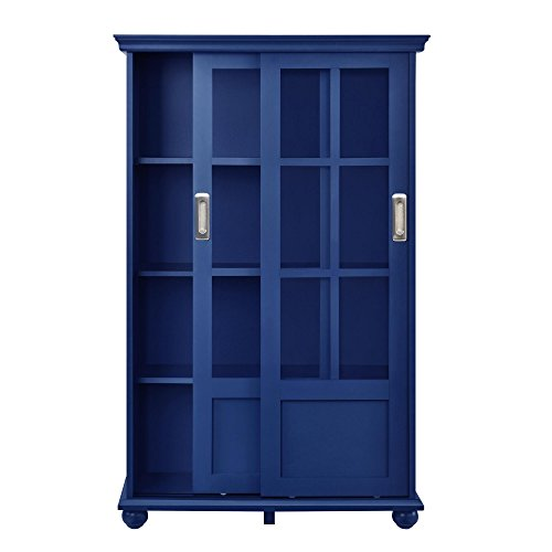 Ameriwood Home Aaron Lane Bookcase with Sliding Glass Doors, Blue by Ameriwood Home (Image #3)
