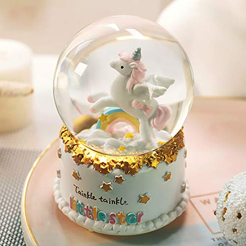 - HIKEL Lovely Music Box Snow Globes Unicorn Rainbow and Stars Base Water Globe with Led Light for Birthday Gifts Childrens Girls Gift Holiday Day