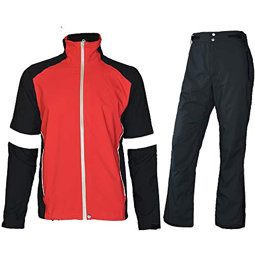 - fit space Men's Waterproof Golf Jacket and Pants for All Sports Rain Suit (Red Full-Zip, Small)