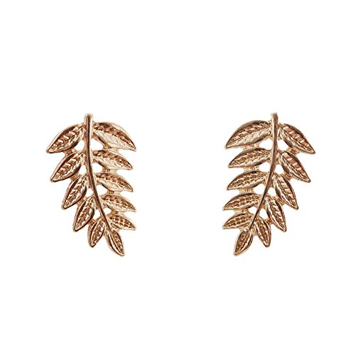 Humble Chic Women's Olive Branch Studs Gold-Tone Large Leaf Drop Post Earrings, Gold-Tone