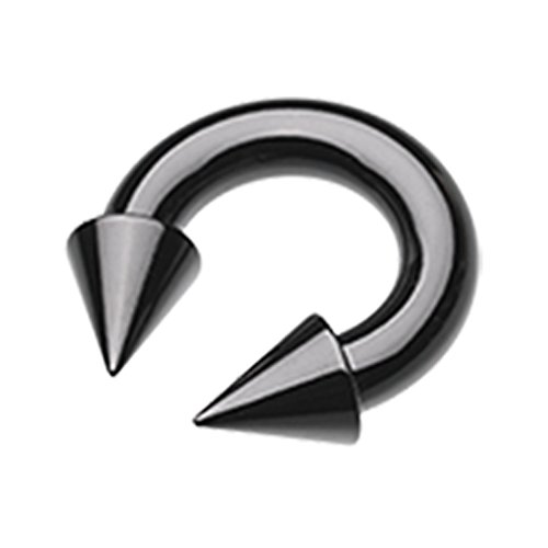 Spike Circular Barbell - Inspiration Dezigns 10G Black Spike End 16mm Horseshoe Ring Externally Threaded
