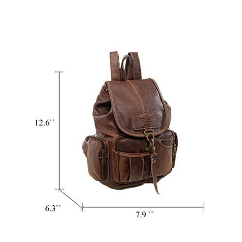 Dark Fanshu Brown Girls Vintage Backpack Brown for Womens Leather Purse New Dark Style Fashion Backpack AWnPAB6