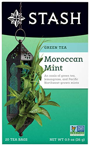 Stash Tea Moroccan Mint Green Tea, 20 Count Box of Tea Bags Individually Wrapped in Foil (packaging may vary), Medium Caffeine Tea, Green Tea Blended with Mint, Drink Hot or Iced