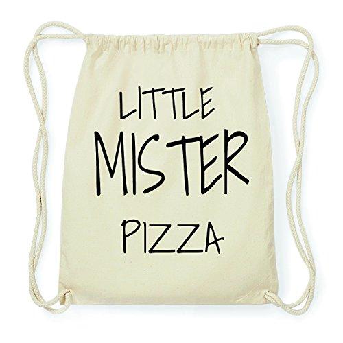 JOllify PIZZA Hipster Turnbeutel Tasche Rucksack aus Baumwolle - Farbe: natur Design: Little Mister