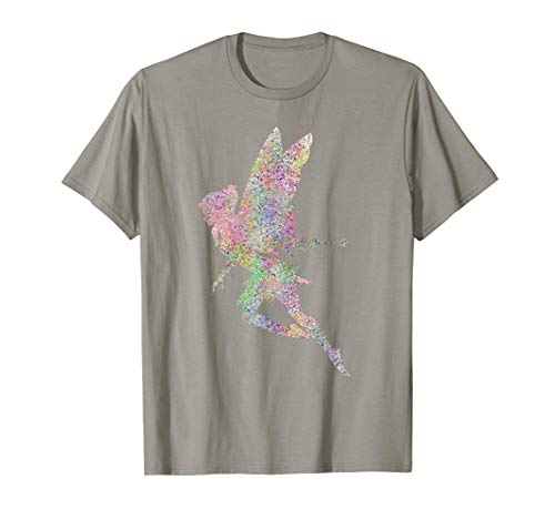 Cute Fairy Girl Glitter T Shirt Fairies Rainbow Tee Shirt ()