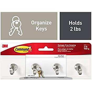 Command Key Rail, Indoor Use, Holds 2 lbs, White (HOM-18Q-ES)