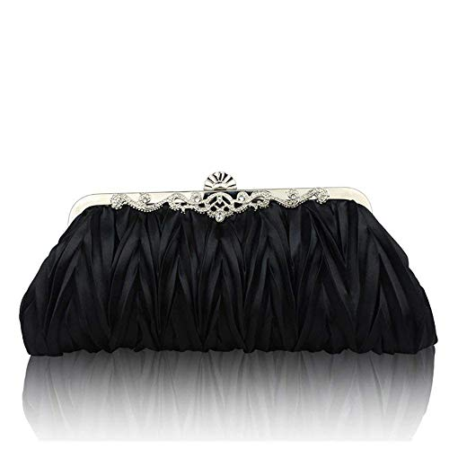 Superw Detachable Womens Evening Bag Chain Wedding Party Satin Strap with Blue Pleated Cocktail Handbag Handbags Clutch ryrqwAU8Sx