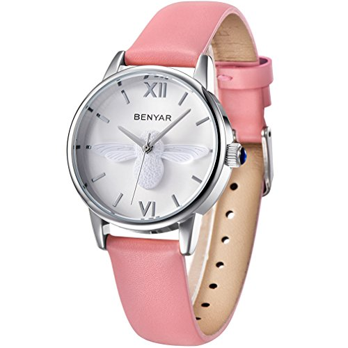Watch Pink Leather (BENYAR Waterproof Cute Bee Ladies Watches Leather Strap Business Casual Wrist Watch for Women (Pink Silver White))