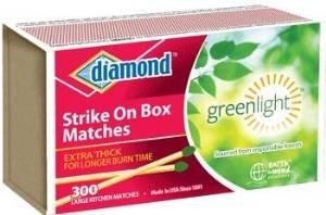 48789-02225 300-Ct Diamond Saw Green Light Strike On Box Singles Matches (Matches 300 Pack)
