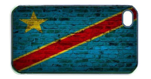 Congo Kinshasa Flag Brick Wall iPhone 5 and iPhone 5s Black Silcone Rubber Case - Fits iPhone 5 and iPhone 5s - Made of Silcone Rubber Providing Great - Kinshasa Congo Flag