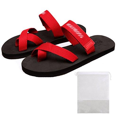 Mily Mode Par Tå Ring Flops Bekväma Gummisulor Halkfri Platta Sandaler Sommar Beach Flickor Och Pojkar Tofflor Röd