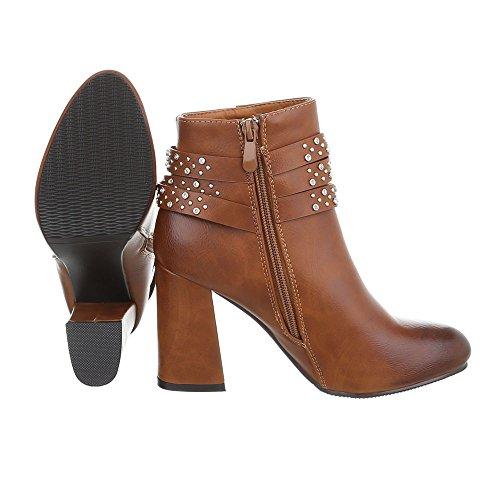 Ital-Design High Heel Stiefeletten Damenschuhe High Heel Stiefeletten Pump High Heels Reißverschluss Stiefeletten Camel 0-191