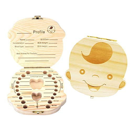 Mogoko Baby Teeth Keepsake Boxes Wooden Tooth Fairy Box, Child Kids Tooth Storage Holder Organizer(Boy, English; Customized Personalized ()