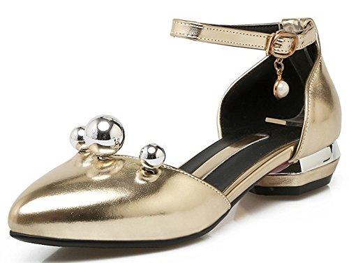 Idifu Donna Ciondolo Dolce Basso Tacco Grosso Cinturino Alla Caviglia Fibbia Chiuso Scarpe A Punta Scarpe Oro Pompe