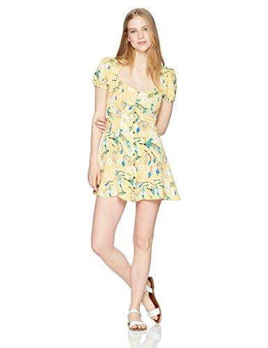 En Créme Junior's Short Sleeve Button up Mini Dress, Yellow Multi/Color, Small