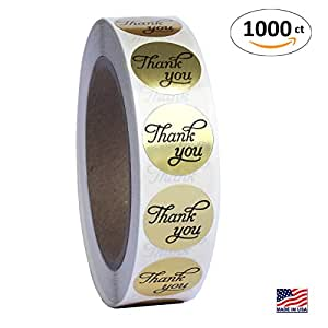 Amazon Com 1 Inch Round Gold Foil Thank You Sticker Labels In Script Calligraphy Print 1000
