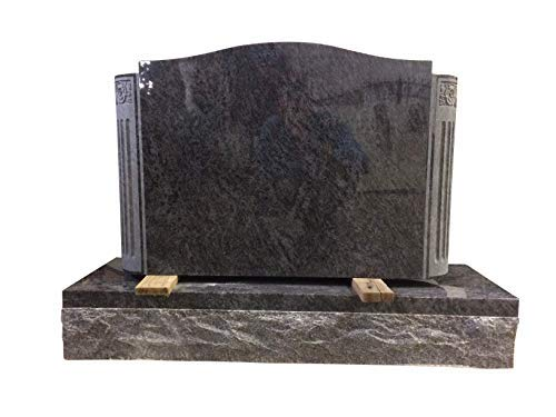 Upright Monument Gravemarker Headstone Bahama Blue with Engaged Columns Granite Gravestone - Granite Column