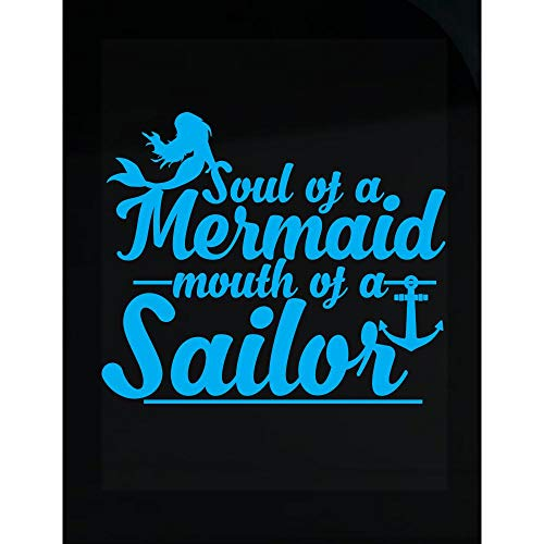 Cartba Soul of A Mermaid Mouth of A Sailor Design - Unique Ideas - Transparent Sticker ()