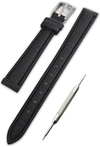 【クロコダイル型押し 黒 14mm】時計ベルト 時計バンド ストラップ 腕時計 11Straps【バネ棒外しセット】