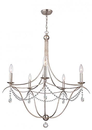 Crystorama 415-SA-CL-MWP Crystal Accents Five Light Chandelier from Hot Deal collection in Pwt, Nckl, B/S, Slvr.finish,
