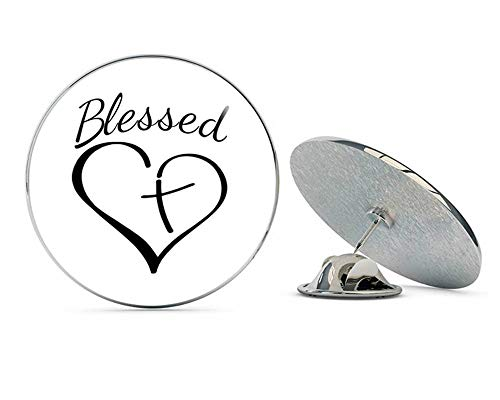 Religious Christian Blessed Heart with Cross Metal 0.75