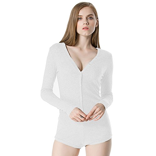 Moxeay Women V-Neck Long Sleeve Shorts Knitted Bodysuit Jumpsuit Romper Overall (S, -