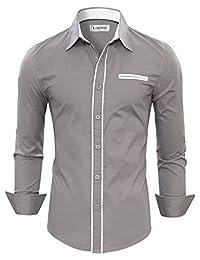 TAM WARE Mens Premium Casual Inner Contrast Dress Shirt TWNMS310-1-CMS03-GRAY-US S