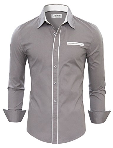 Tom's Ware Mens Premium Casual Inner Contrast Dress Shirt TWNMS310-1-CMS03-GRAY-US S