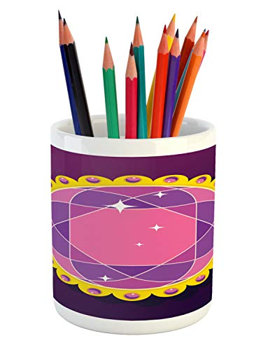 Ambesonne Amethyst Pencil Pen Holder, Abstract Round Gemstone Ornamented with Circular Frame and Pearls Image Print, Printed Ceramic Pencil Pen Holder for Desk Office Accessory, Multicolor