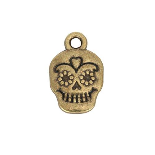 10pcs x Dia De Los Muertos Skull Charms 13x10mm Antique Bronze Tone #mcz1267 ()