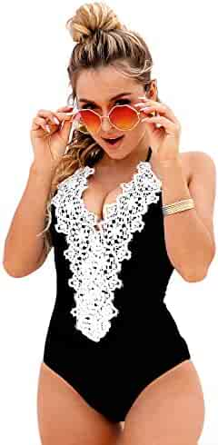 2919b92bde Blooming Jelly Women's Vintage One Piece Swimsuit Lace Tummy Control Halter Swimwear  Bathing Suit