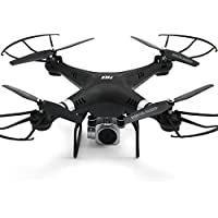 Drone HR SH5 4CH 6 Axis With 720P HD Camera FPV One Key To Auto-Return Headless Mode 360°Rolling Access Real-Time Footage Hover RC (Black)
