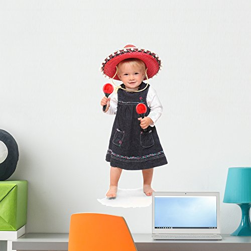 [Wallmonkeys Little Girl Singing and Dancing in the Mexican Sombrero Peel and Stick Wall Decals WM353760 (24 in H x 17 in W)] (Kids Mariachi Dancer Costumes)