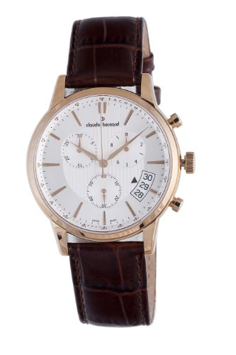 Claude Bernard Men's 01002 37R AIR Classic Rose Gold PVD Silver Dial Chrono Tachymeter Watch