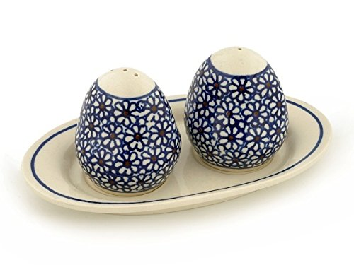 (Polish Pottery 7¼-inch Salt and Pepper Set (Daisy Dreams Theme) + Certificate of Authenticity)