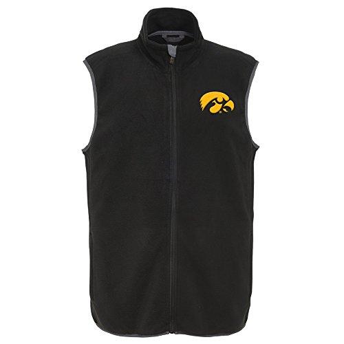 NCAA Iowa Hawkeyes Men's Scrimmage Polar Fleece Vest, Black, Men's XX-Large by Gen 2