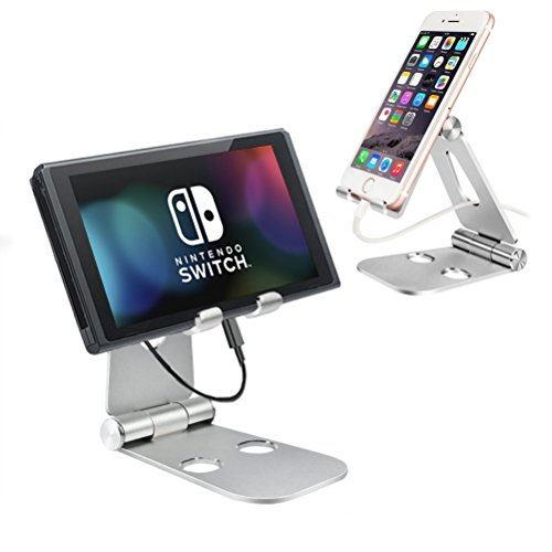 Foldable Tablet Stand, SUPRBIRD Cell Phone Stand, Universal Adjustable Aluminum Desktop Tablet Support for Smartphone, iPad pro, iPad Mini/Air, iPhone X/8/8Plus/7/7Plus, Galaxy S9/S9+/Note8 (silver) by SUPRBIRD