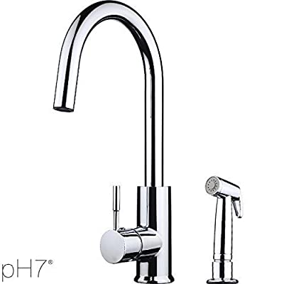 pH7® F03 1-hole Plastic Kitchen Sink Faucet with Spray Gun; 1-handle Touch On Kitchen Faucet; Excellent Finish, Nylon Hose