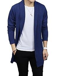 Jaycargogo Mens Casual Long Open Front Slim Sweater Cardigans