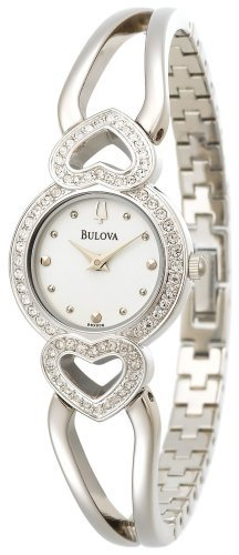 Bulova Women's 96X006 Crystal Pendant and Necklace Boxed Set White Dial Watch