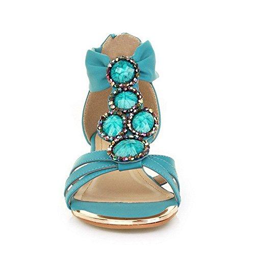 AllhqFashion Mujeres Cremallera Puntera Abierta Mini Tacón Cuero Sólido Sandalia Azul