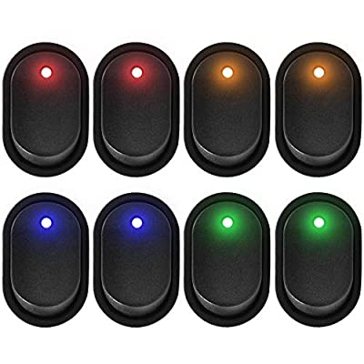 eFuncar 3Pin 12V 30A Toggle Switch SPST ON Off, Waterproof LED Blue Green Yellow Red Lighted Rocker Switch for Car Truck Boat Marine Auto Motorcycle, 8Pcs (2 for Each Color): Industrial & Scientific