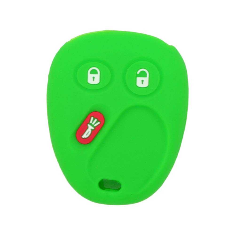 SEGADEN Silicone Cover Protector Case Skin Jacket fit for CHEVROLET GMC CADILLAC HUMMER SATURN PONTIAC 3 Button Remote Key Fob CV4610 Light Green